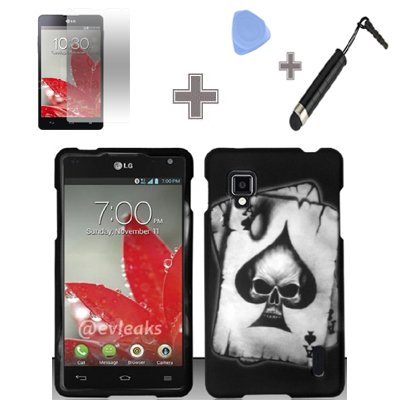 Rubberized Black Grey Ace Spade Skull Snap on Design Case Hard Case Skin Cover Faceplate with Screen Protector, Case Opener and Stylus Pen for LG Optimus G / Eclipse 4G LTE LS970 - Sprint