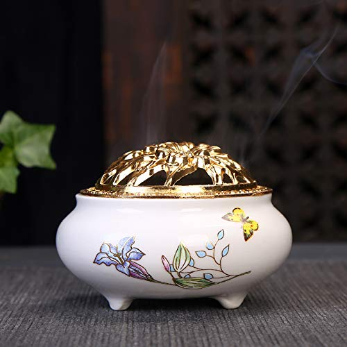 Incense Burner with Brass Incense Stick Holder White Ceramic with Butterfly Flower Pattern Handmade Censer. (Yellow Butterfly)