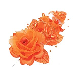 """3 Orange Silk Flowers Pearl & Organza Corsages 5""""x 2.5"""" with a Straight Pin 89"""