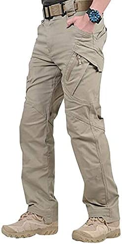 eamqrkt Pantalones Largos Impermeables de Trabajo para Hombres con Bolsillos Pantalones Sueltos