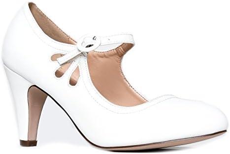 White T Strap Mary Jane Kitten Heels