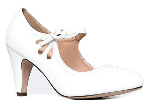J. Adams - Low Kitten Heels Ã'- Vintage Retro Round Toe Shoe with Ankle Strap - Pixie by J. Adams