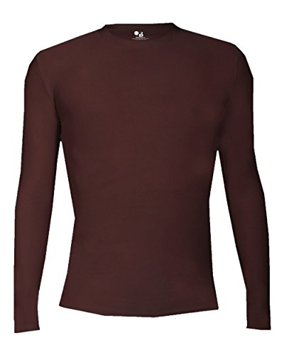 Maroon Adult Small Pro-Compression Long Sleeve Crew Performance Sports Poly/Spandex Shirt