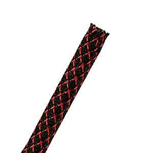 Eowpower Black and red Expandable Braided Cable Sleeve Sock 1/2 inch X 25ft
