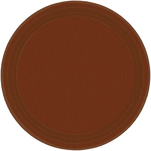 (amscan Chocolate Brown Round Paper Plates |7