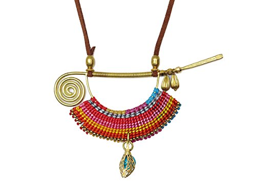 Women's Vibrant Gypsy Costumes (Blue Howlite Crochet Brass Charm Pendant Necklace Bohemian Costume Jewerly)