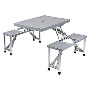 Relaxdays mesa de camping mesa plegable mesa de picnic con for Sillas jardin amazon