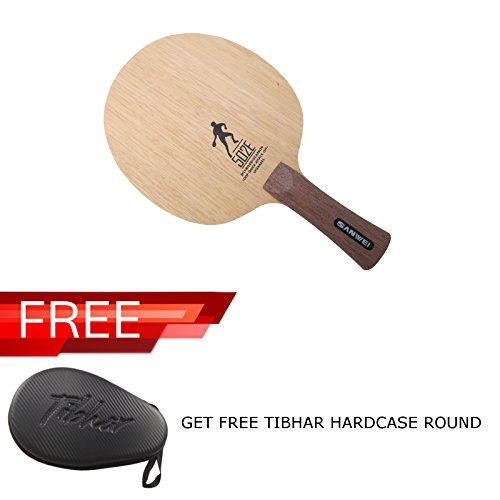 SANWEI 502E TABLE TENNIS BLADE, FL HANDLE FREE TIBHAR HARD CASE ROUND