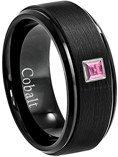 0.10ctw Solitaire Princess Cut Pink Tourmaline Cobalt Ring - 8MM Brushed Black Stepped Edge Cobalt Chrome Wedding Band - October Birthstone Ring - s13 ()