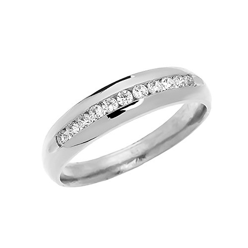 Men's 14k White Gold Diamond Channel-Set Wedding Band (Size 13)