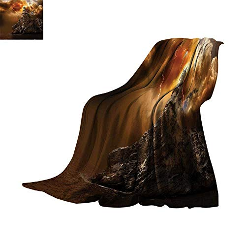 Luckyee Lightweight Blanket Lake House Decor,Fantasy Castle on Top of The Cliff with Lightning Supernatural Place Fiction Print,Orange Brown Print Summer Quilt Comforter Bed or Couch 60