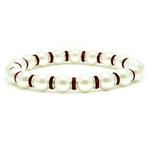 Accents Kingdom Women's Magnetic Hematite White Tuchi Simulated Pearl Bracelet with Simulated Garnet Crystal, 7.5