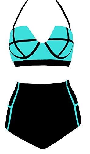 LA PLAGE Women's Retro Vintage High Waist Colorful Padded Bra Swimwear size L US blue (Cotton Nylon Suit)