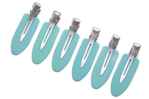(No Crease Hair Clips by A&D Innovation-Set of 6 Rubber No Bend Hair clips used by Professionals & Celebrity Stylists-Perfect for Makeup Application, Styling & Sectioning, will Not Crease or Dent Hair.)