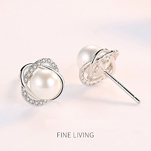 Sterling Silver Freshwater Cultured Pearl and Cubic Zirconia Spiral stud Earrings by Lam Sence (Image #2)