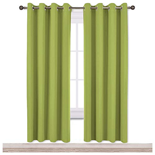 NICETOWN Green Blackout Draperies Curtains - Window Treatment Thermal Insulated Solid Grommet Blackout Curtains/Drapes for Bedroom (Set of 2 Panels, 52 by 72 Inch, Fresh Green) ()