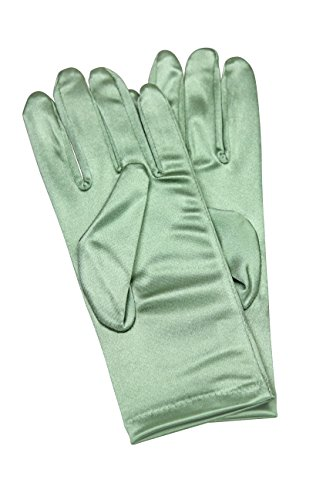 Elegant Stretch Satin Long Fabric Gloves - Wrist Length - Size: 9