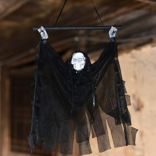 Hallowen Party - Voice Control Halloween Hanging Ghost Party Decoration Battery Operated Animated Light Up Props - Party Decorations Party Decorations Hallowen Decoracion Halloween Prop -