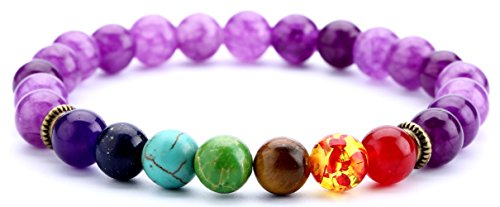 Doitory 8mm Lava Rock Chakra Beads Bracelet Elastic Natural Stone Yoga Bracelet Bangle(Amethyst Beads)