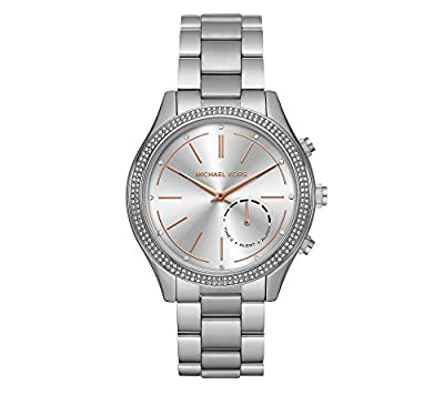 Michael Kors Women's 42mm Access Slim Runway Silvertone Pav= Hybrid Smart Watch by Michael Kors