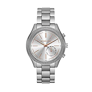 Michael Kors Women's 42mm Access Slim Runway Silvertone Pav= Hybrid Smart Watch