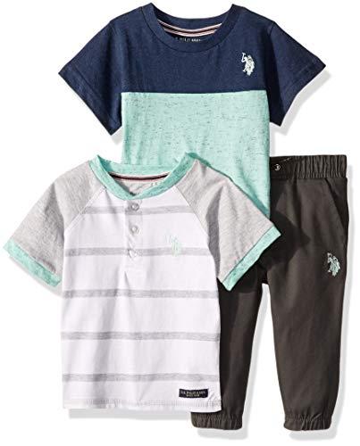 U.S. Polo Assn. Baby Boys 3 Piece Short Sleeve Henley, T-Shirt, and Jogger Set, Mint 24M