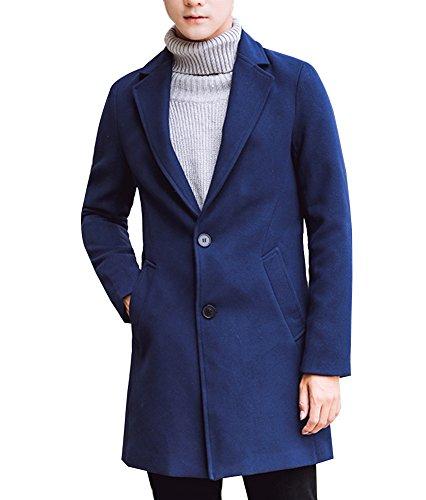 Uomo Trench Coat Sottile Caloroso Cappotto Di Lana Finto Inverno Classico Collare Giacche Manica Lunga Marina Militare