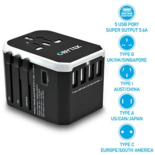 Universal Travel Adapter 5.6A - Portable Power Plug with 4 x Fast Charge USB Ports & 1 x USB Type C Port - Wall Charger Power Adapter for All Devices - Safe and Fireproof - Works in US/UK/EU/AU