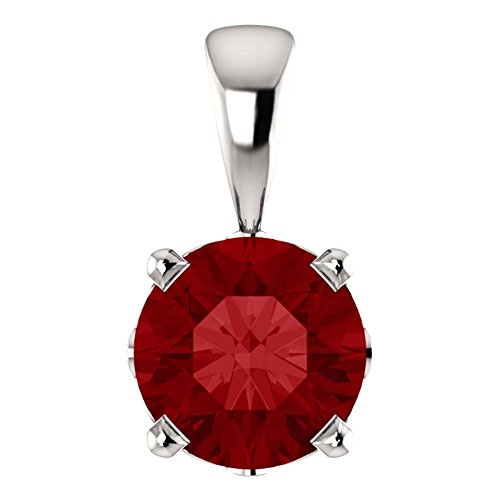 14k White Gold Chatham® Created Ruby Pendant - Gold Chatham Ruby Pendant
