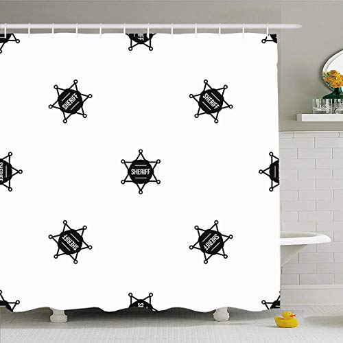 Ahawoso Shower Curtain 60x72 Inches Shape American Sheriff Badge Pattern Black America Geometric Antique Authority Crime Detective Enforcement Waterproof Polyester Fabric Set with Hooks