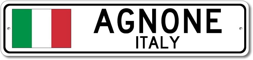 Agnone, Italy - Italian Flag Sign - Metal Novelty Sign for Home Decoration, Italian Restaurant Wall Decor, Gift Street Sign, Italian Hometown Sign, Made in USA - 4x18 inches