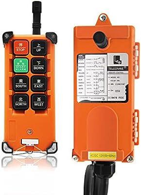 Mando a distancia inal/ámbrico distancia interruptores de control industrial universal para el interruptor de puente gr/úa de 6 canales F21-E1B Azul Naranja,YK-FX-,DC 24V