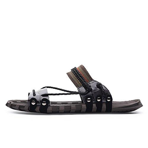vera vera Rosso sandali antiscivolo pelle di in piatti uomo Xujw Pantofole Uomo morbidi da EU pelle Casual shoes dimensione da Sandali corda Colore 46 spiaggia da in canapa Nero qqwO8RxHS
