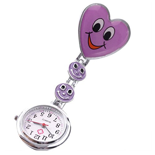 Watch Men Smiley Face (SODIAL Purple Heart Quartz Movement Clip Nurse Brooch Fob Tunic Watch Smiley Face)