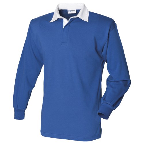 Front Row Long sleeve plain rugby shirt Royal/White L Chest Stripe Rugby Shirt