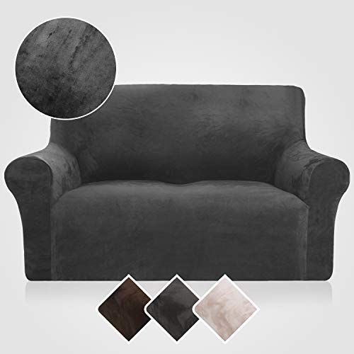 Rose Home Fashion RHF Velvet Loveseat Slipcover Slipcovers for Couches and Loveseats, Loveseat Cover&Couch Cover for Dogs, 1-Piece Sofa Protector(Dark Grey ()