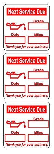 2000 2x2 Red, Black, Green, Blue Oil Change Labels Stickers (Oil Can)