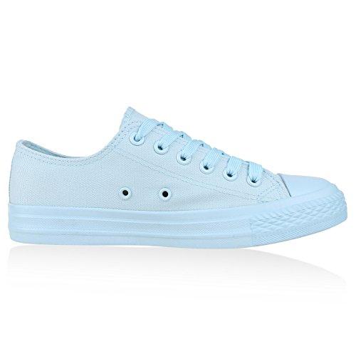 Trendige Unisex Sneakers Low-Cut Modell Basic Freizeit Schuhe Viele Farben Gr. 36-45 Hellblau Total