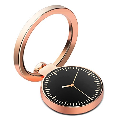 Cell Phone Finger Ring Stand DIGITWHLE Clock Phone Ring Holder 360°Rotation and 180°Flip Ring Grip Mount Kickstand for iPhone X 8 7/7 PlusSamsung Galaxy S8/S7Fit Magnetic Car Mount Rose Gold