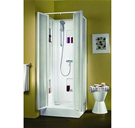 Cabina de ducha izibox cuadrada 70 x 70 cm, instalación en ángulo o encastrée, equipo Confort, con grifo monomando, puertas Ba: Amazon.es: Hogar