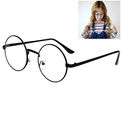 Littlegrass Round Circle Frame Clear Lens Vintage Oversized Eyeglass Metal Brown Black Silver Gold - Round Lenses Eyeglasses