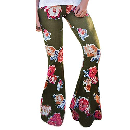 JOFOW Womens Pants Bootcut Boho Floral Flowers Print Ethnic Bell Bottom High Waist Slim Sexy Casual Long Flared Trousers (L,Army Green)