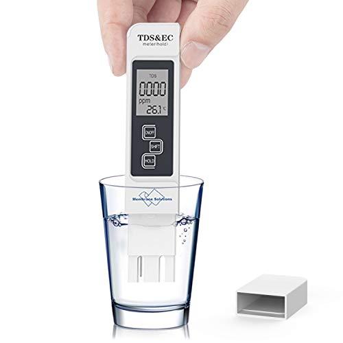 TDS Meter Digital Water Tester, Membrane Solutions, TDS Meter, EC Meter & Temperature Meter 3 in 1, 0-9990 ppm Measurement Range, with ATC,Ideal Water Test Meter for Drinking Water, Aquariums, etc. (Inline Ph Tester)