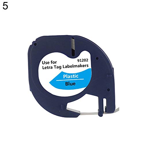 Durable,Easy to Use,Portable,Useful Item Home Decorative and Tole Painting Supplies Plastic Label Tape 12mmx4m Compatible for DYMO Letra Tag 100H 100T 2000 Printer - 5