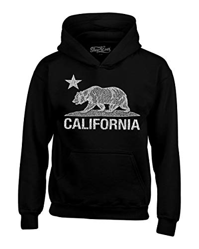 Shop4Ever California Distressed White Bear Hoodies Cali Sweatshirts Small Black 0