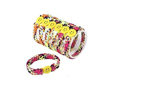 36 woven smiley face bracelets ~ friendship bracelets ~ colorful party favors ~ Easter basket filler ~ TOY by RN (Face Gifts Smiley)