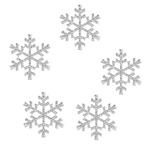 (FENICAL 5pcs Rhinestone Snowflake Embellishments Christmas Ornaments 40mm (Silver))