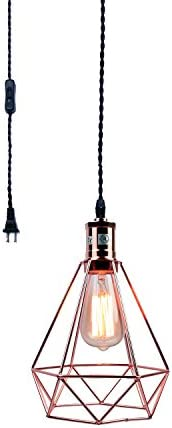 Pauwer Industrial Wire Cage Pendant Light Plug in Vintage Pendant Light with On Off Switch Rose Gold