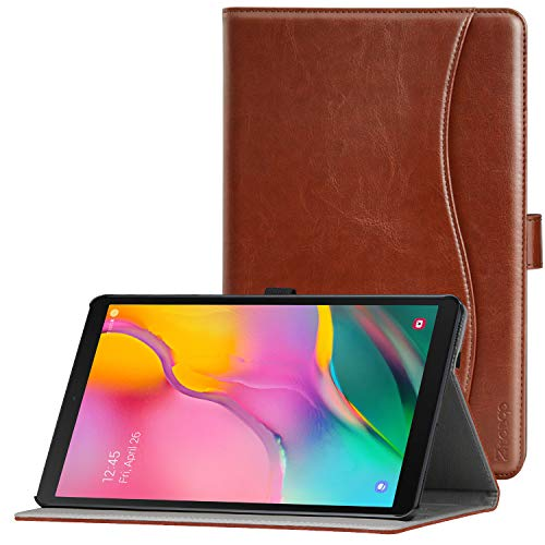 Ztotop Case for Samsung Galaxy Tab A 10.1 Inch Tablet 2019(SM-T510/T515), PU Leather Folding Stand Folio Cover with Pen Holder, Card Pocket and Multiple Viewing Angles,Brown (Best Galaxy Note 10.1 2019 Case)