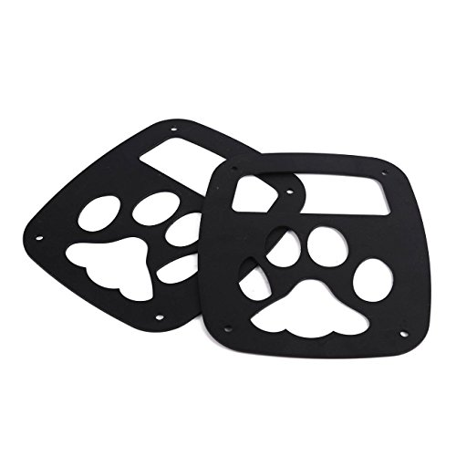 POWLAB 2Pcs Black Exterior Rear Tail Light Guard Cover Protect Shade Bear Paw Shape Hollow Out For Jeep Wrangler 1987-2006 TJ YJ